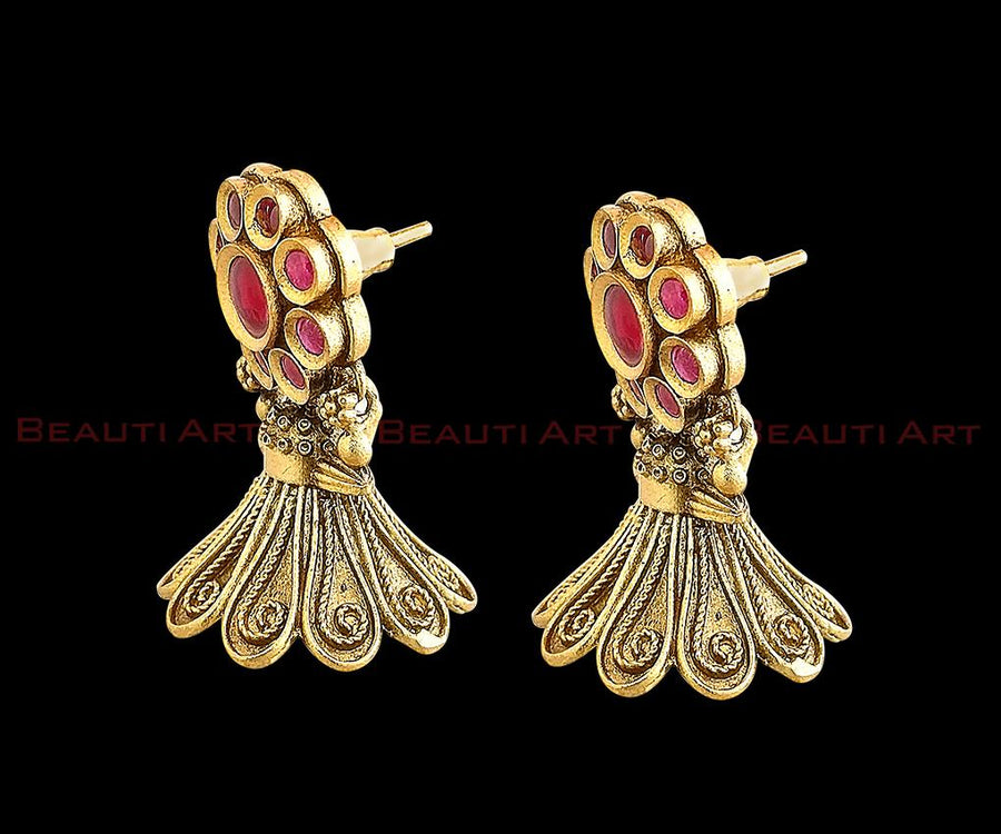 Pink Coral Earrings with Antique Gold Plating and Ruby Stone (BAER0225)