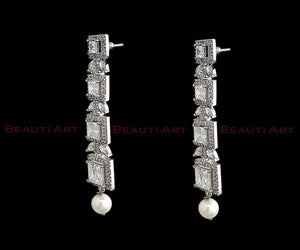 Rhodium Plated Earrings Adorned with CZ Stone - White (BAER0271)
