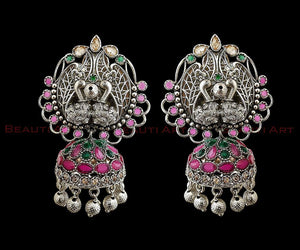 Rhodium Plated Earrings having Ruby & Green Stone (BAER0250)