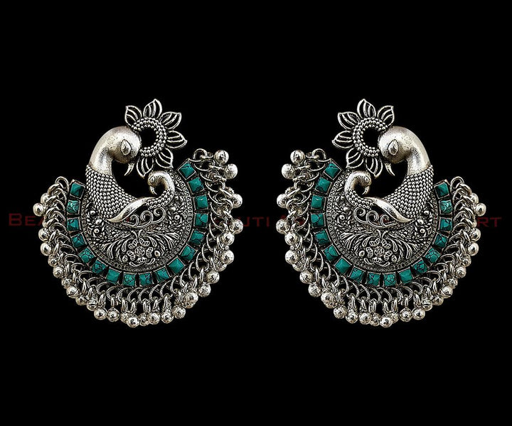 Rhodium Plated Earrings studded with Turquoise Stone (BAER0246)