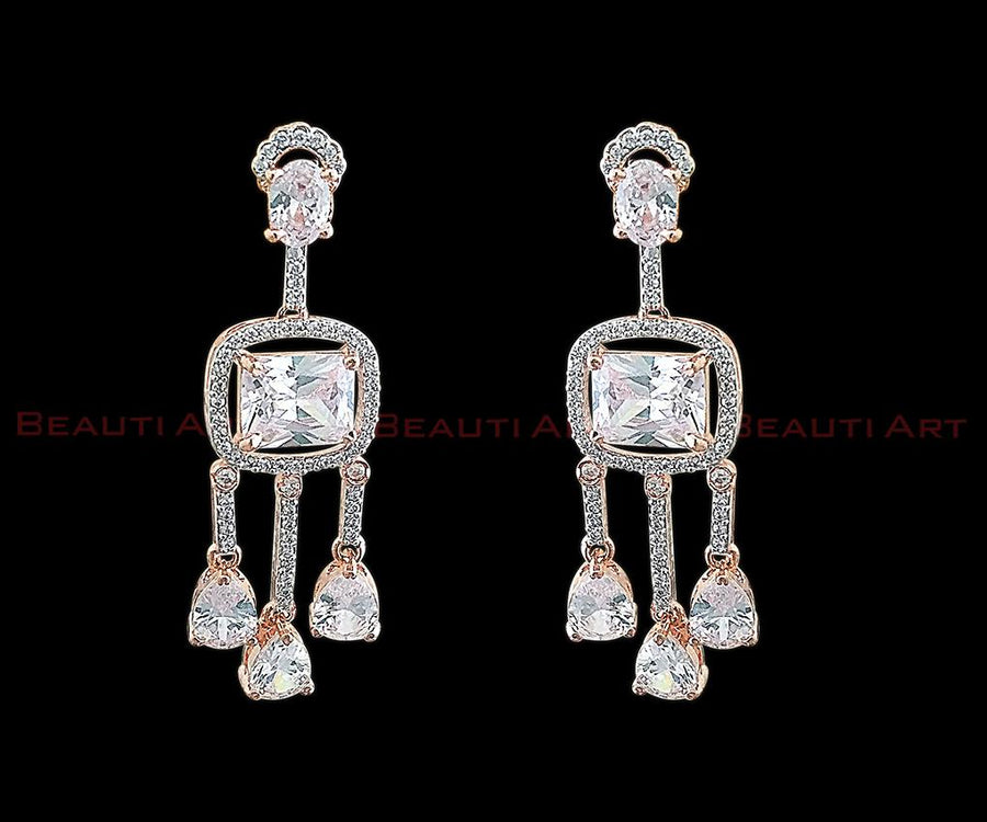 Rose Gold Plated Earrings studded with CZ Stone (BAER0269)