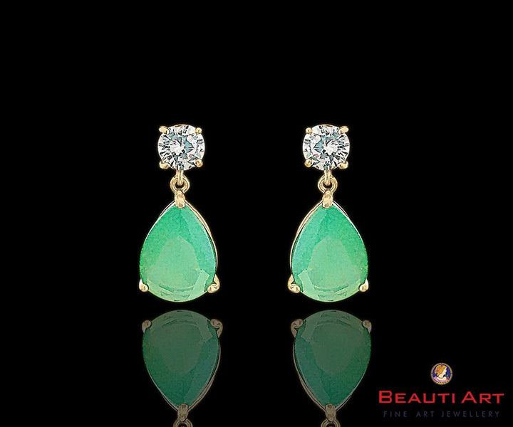Rose Gold plated Earrings with CZ Stone Mint Color Dangler (BAER0203)