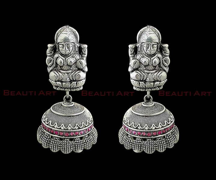 Temple Earrings Rhodium Plated and studded with Exclusive Ruby Stone (BAER0222)