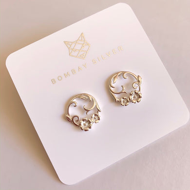 Bombay Silver Flower Garland Statement Studs