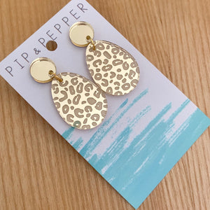 Gold Mini Leopard Print Drop Dangles