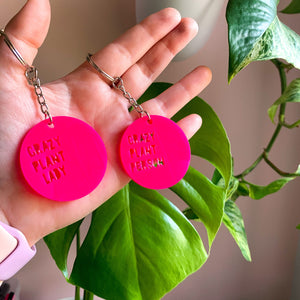 Crazy Plant People Keytag (Hot Pink)