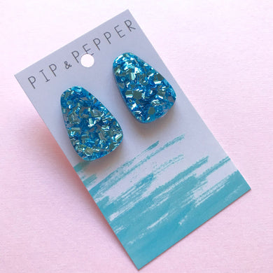 Blue Ice Shards Statement Studs Drops