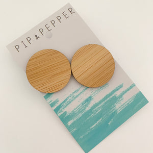 Blank Bamboo Earrings (Paint Your Own) Circle Statement Studs