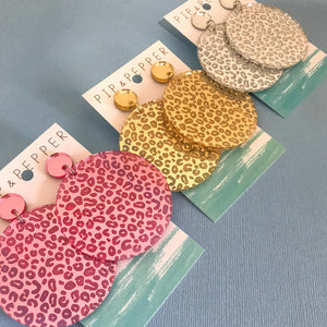 Leopard Print Giant Mirror Disk Dangles CHOOSE COLOUR