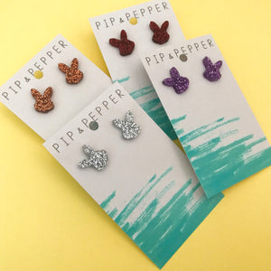 Glitter Bunny Head Studs CHOOSE COLOUR