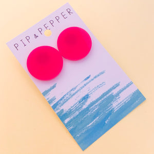 Circle Statement Studs (Hot Pink)