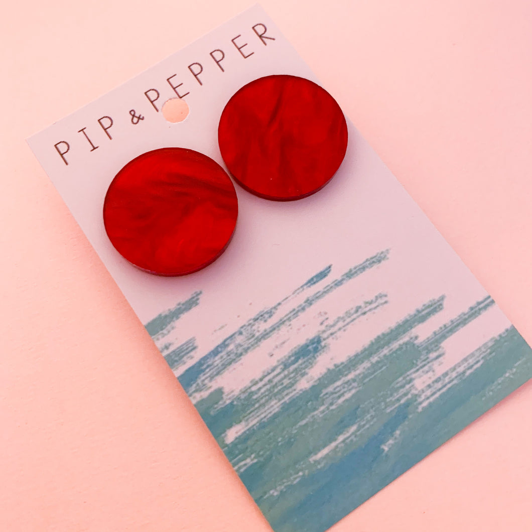 Circle Statement Studs (Marble Red)