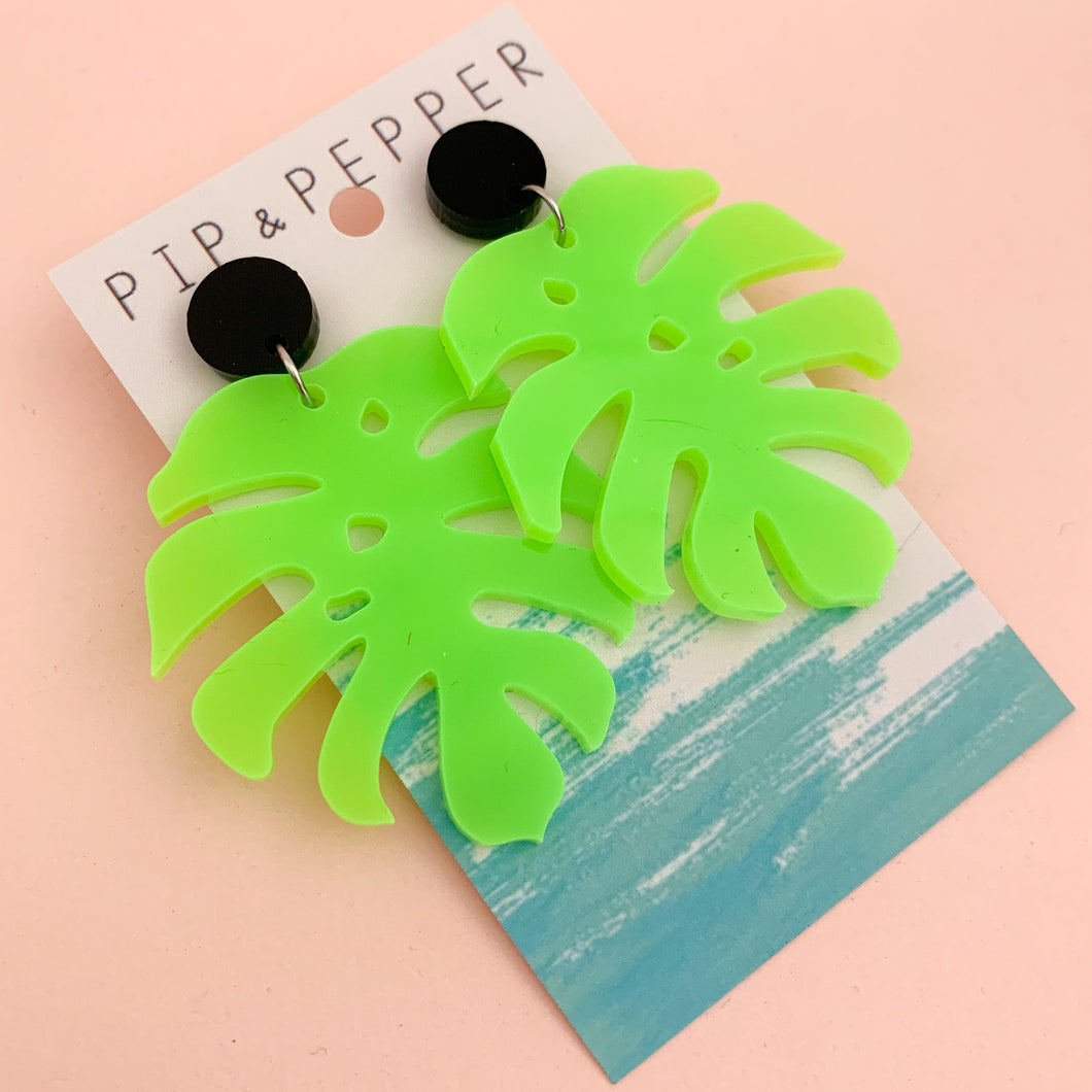 Tropical Leaf Dangles (Neon Green)