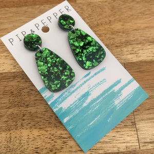 Green Foil Mini Drop Dangles