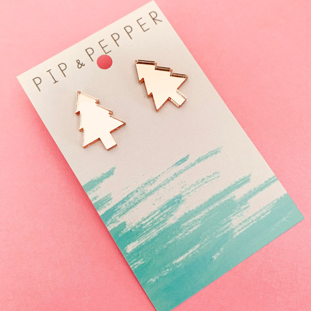 Christmas Tree Studs (Rose Gold)