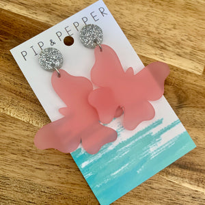 Butterfly Dangles (Frosted Pink)