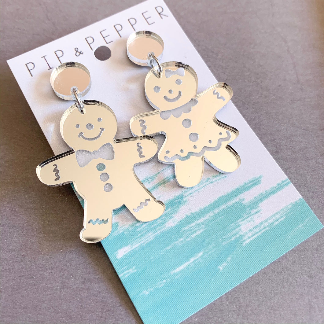 Mr and Mrs Gingerbread Dangles (Silver)
