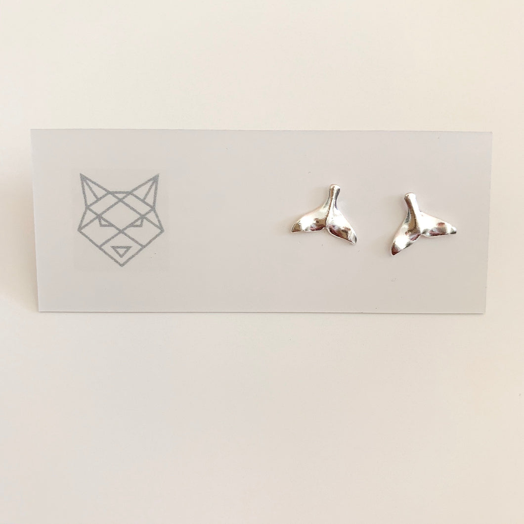Bombay Silver Whale Tail Studs