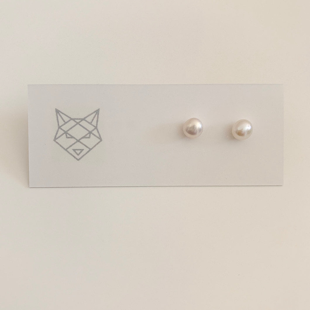 Bombay Silver Pearl Studs