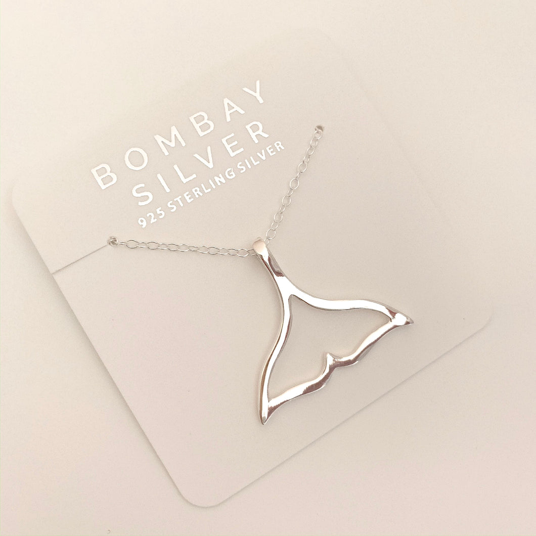 Bombay Silver Whale Tail Necklace