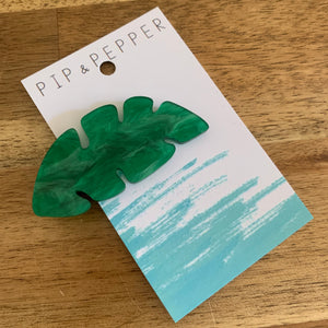 Leaf Hair Clip (Green Marble)