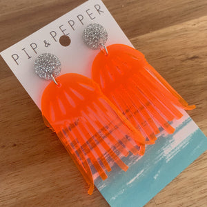 Jellyfish Dangles (Neon Red/Orange)