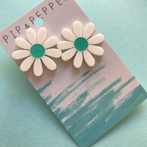 Daisy Statement Studs (Teal)