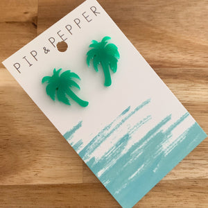 Palm Tree Statement Studs (Green)