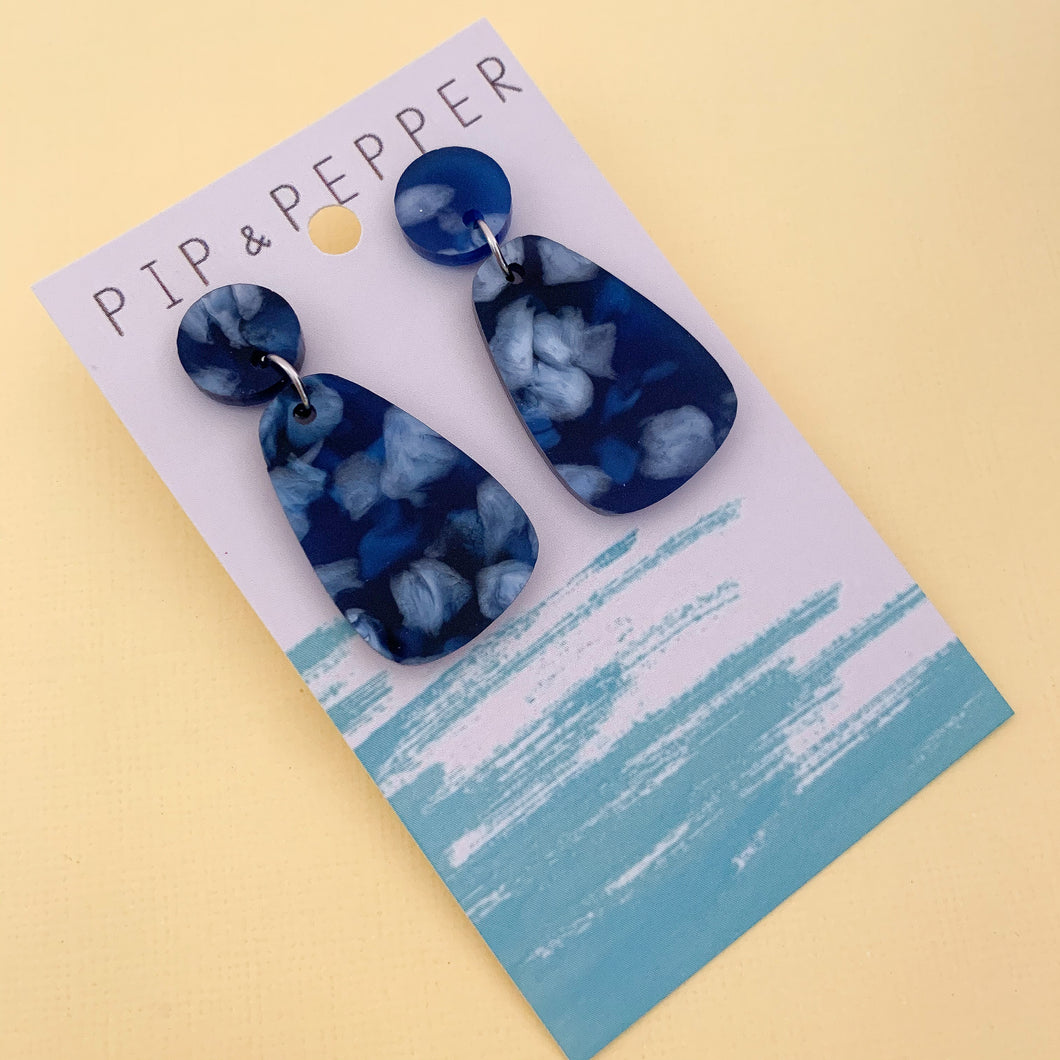 Mini Drop Dangles (Navy Petals)
