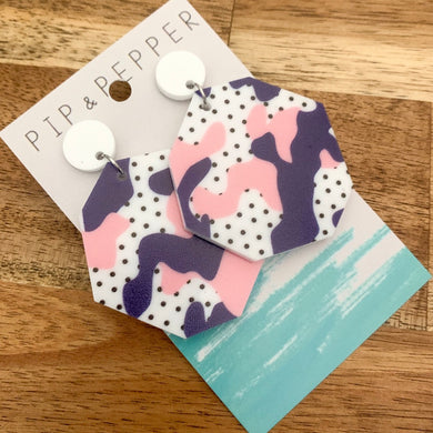 Pink Navy Printed Dangles (Round)