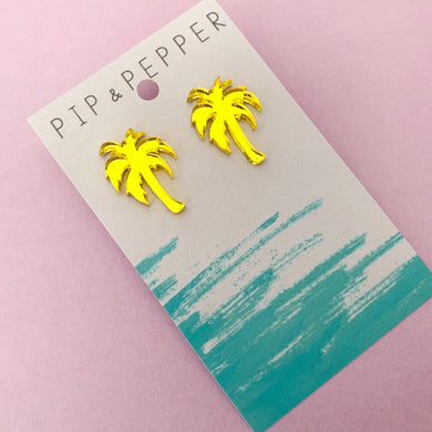 Palm Tree Statement Studs (Yellow mirror)