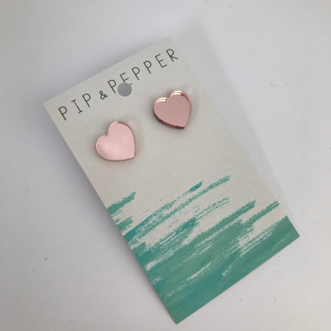 Rose gold mirror heart studs