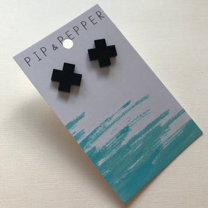 Black cross studs