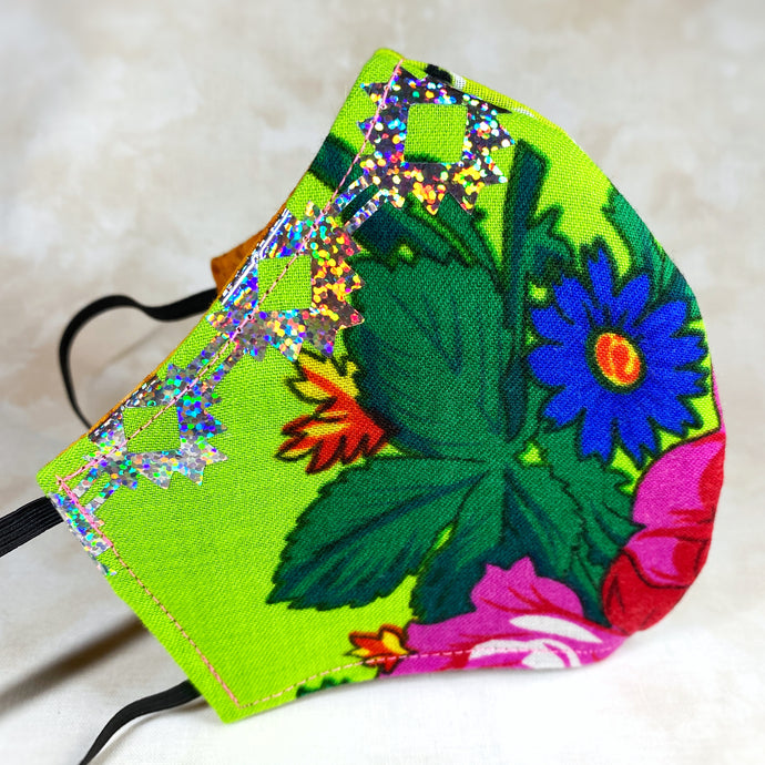One of a kind- Neon Floral, Green Handkerchief Mask