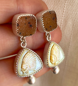 "Druzy & Carved Mother of Pearl ""Be a Leader"" Earrings"
