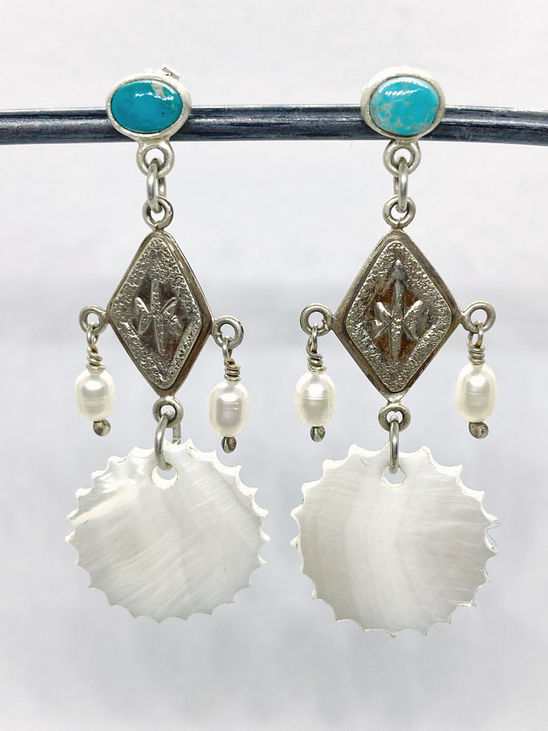 Mvskoke-Creek Sun Design with Turquoise & Pearls