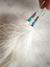 Turquoise, Feathers & Sterling silver Hoops