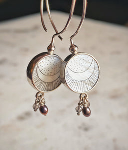 Moon & Sun Mother of Pearl Hoop Earrings