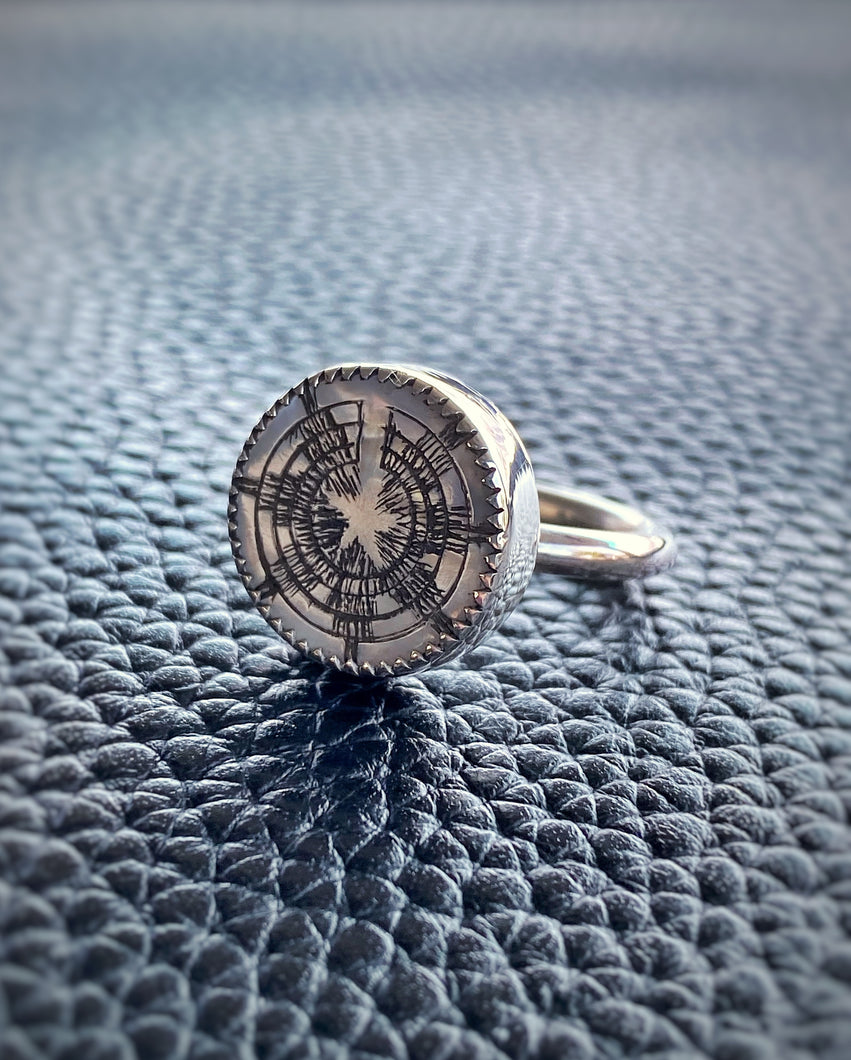MOP etched Diné Wedding Basket Ring