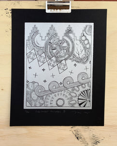Linocut Print Silver on Black