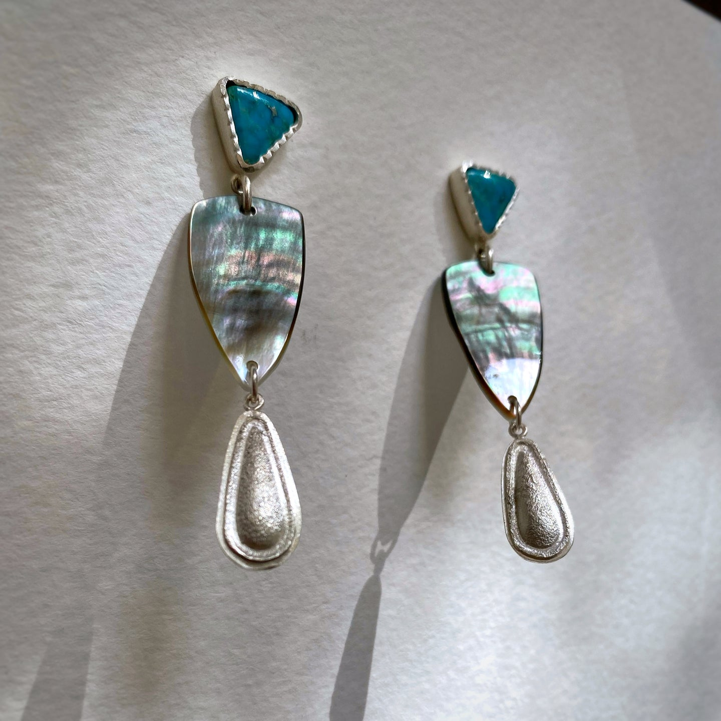 Triangle Post, Mother of Pearl Earrings