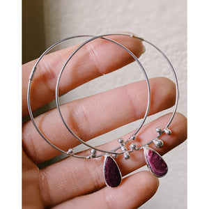Purple Spiny Oyster Hoop Seed Earrings