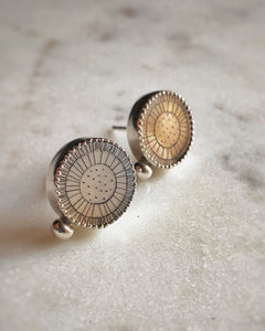 Sunflower Etched Mother of Pearl Earrings
