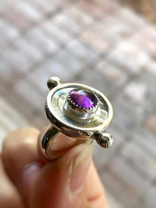 Etched Mother of Pearl & Amethyst Ring