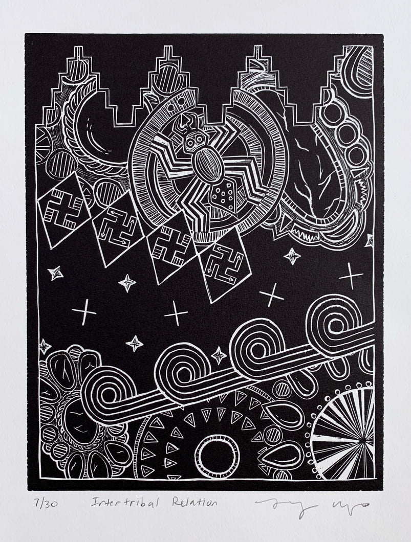 Linocut Print Black on White