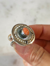 Orbit Ring Etched Mother of Pearl & Peach Coral