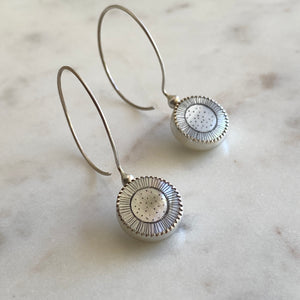 Sunflower Etched Mother of Pearl Hoop Earrings