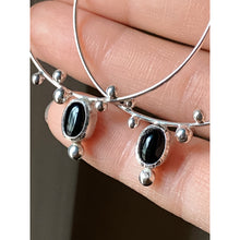 Onyx Hoop Seed Earrings