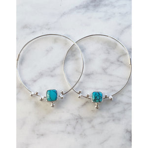 Webbed Kingman Turquoise Hoop Seed Earrings