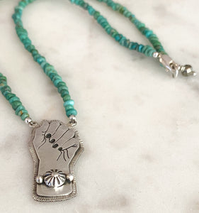 Resist Pendant with Turquoise Pebble Necklace